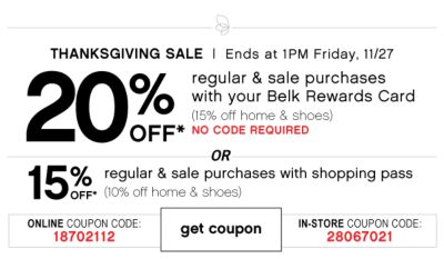 20 Off Thanksgiving Sale Regular and Sale purchases