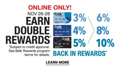 Online Only! - November 26-8 - EARN DOUBLE REWARDS*. Learn More.