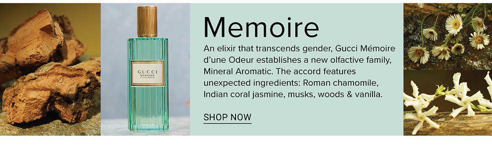 An elixir that transcends gender, Gucci Mémoire d'une Odeur establishes a new olfactive family, Mineral Aromatic. The accord features unexpected ingredients: Roman chamomile, Indian coral jasmine, musks, woods & vanilla.