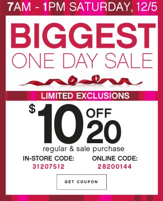 Biggest One Day Sale $10 Off $20 Coupon