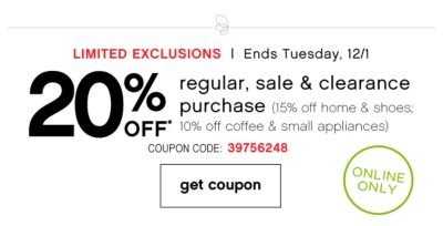 20% off regular, sale & clearance