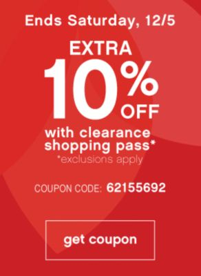 Extra 10 Off with Clearance Shopping pass