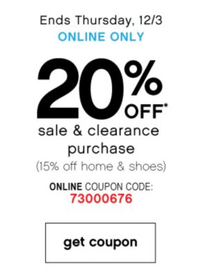 20% Off Sale and Clearance Purchase
