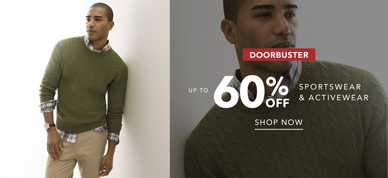 Doorbuster. Up to 60% off sportswear and activewear. Shop now