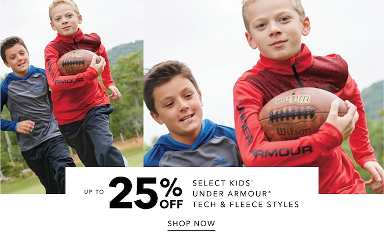 Up to 25 percent off select kids' Under Armour Tech and Fleece styles. Shop Now.