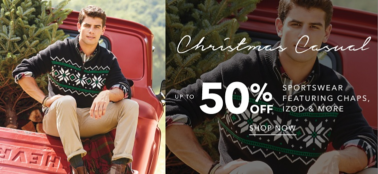 Christmas Casual. Up to 50% off sportswear featuring chaps, Izod and more. Shop now