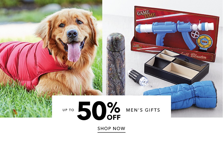 Up to 50% off men's gifts. Shop now