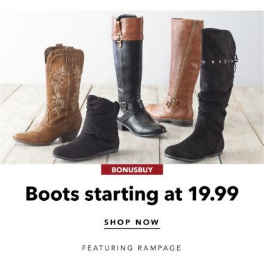BONUSBUY | Boots starting at 19.99 SHOP NOW FEATURING RAMPAGE