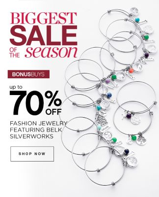 BIGGEST SALE OF THE season | BONUSBUYS | up to 70% OFF FASHION JEWELRY FEATURING BELK SILVERWORKS | SHOP NOW