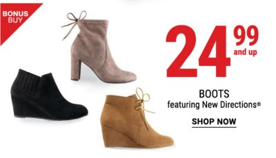24.99 and up boots featuring New Directions
