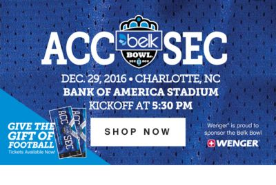 ACC SEC DEC. 29, 2016 CHARLOTTE, NC BANK OF AMERICA STADIUM | KICKOFF AT 5:30PM | SHOP NOW