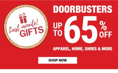 LAST MINUTE GIFTS - Doorbusters - Up to 65% off apparel, home, shoes & more. Shop Now.