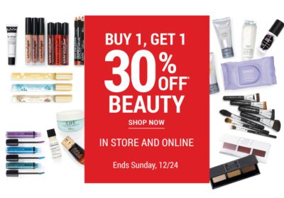 Buy 1, Get 1 30% off* beauty - In Store and Online - Ends Sunday, 12/24. Get Coupon.