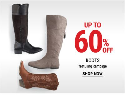 Up to 60% off boots featuring Rampage. Shop Now.