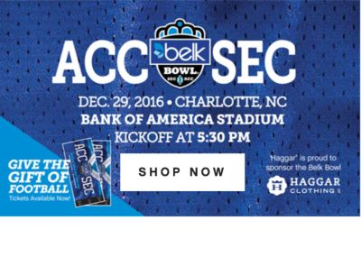 ACC | SEC | DEC. 29, 2016 CHARLOTTE, NC BANK OF AMERICA STADIUM KICKOFF AT 5:30 PM | SHOP NOW