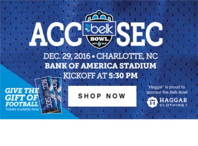 ACC | SEC | DEC. 29, 2016 CHARLOTTE, NC BANK OF AMERICA STADIUM KICKOFF AT 5:30 PM | SHOP NOW
