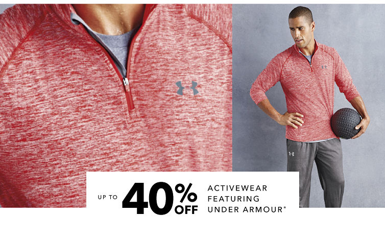 Up to 40% off activewear featuring Under Armour registered trademark. Shop now
