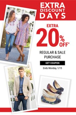 Extra Discount Days - Extra 20% off regular & sale purchase - Ends Monday, 1/15. Get Coupon.