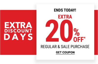Extra Discount Days - Extra 20% off regular & sale purchase - Ends Today! Get Coupon.