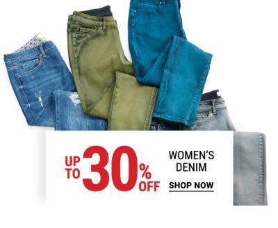 Up to 30% off women's denim. Shop Now.