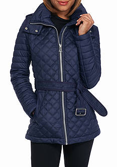 Marc New York Performance Quilted Self Tie Jacket with Hood