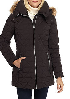 Marc New York Triangle Quilt Coat with Faux Fur Trim Hood