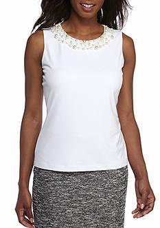 Calvin Klein Pearl Neck Jersey Knit Top