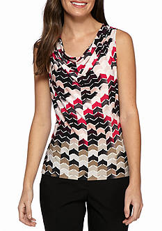 Calvin Klein Print Drape Neck Knit Top