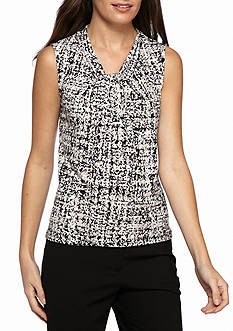 Calvin Klein Printed Jersey Knot Neck Top