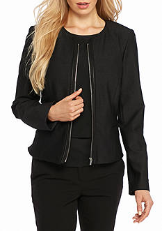 Calvin Klein Solid Knit Zip Front Jacket