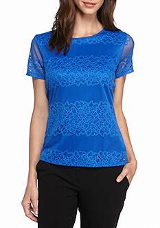 Calvin Klein Short Sleeve Lace Blouse