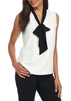 Calvin Klein Contrast Tie Neck Blouse