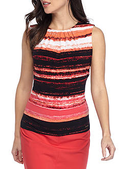 Calvin Klein Striped Pleat Neck Cami
