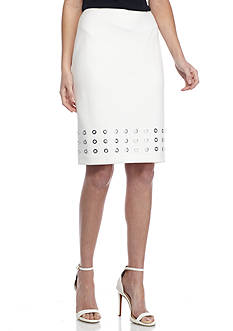 Calvin Klein Scuba Straight Skirt with Grommet