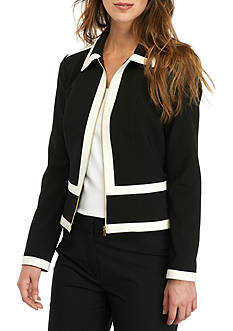 Calvin Klein Two-Tone Zip Front Jacket