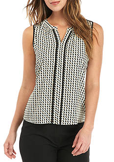 Calvin Klein Printed Blouse with Solid Trim