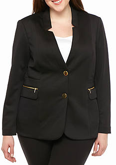 Calvin Klein Plus Size Dual Button Scuba Jacket