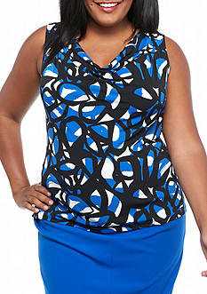 Calvin Klein Plus Size Print Drape Neck Top