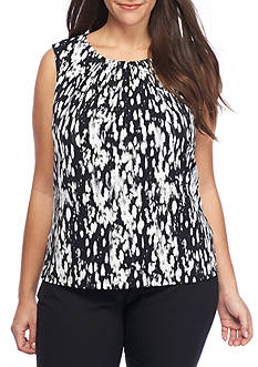 Calvin Klein Plus Size Print Sleeveless Jersey Knit Top