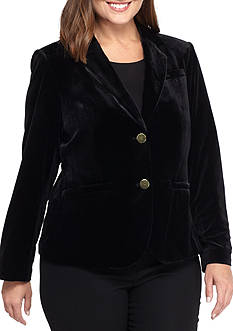 Calvin Klein Plus Size Dual Button Velvet Jacket