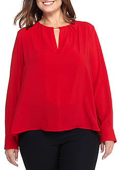 Calvin Klein Plus Size Long Sleeve Key Hole Blouse