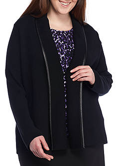 Calvin Klein Plus Size Knit Jacket With Faux Leather Trim
