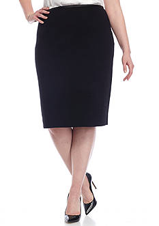 Calvin Klein Plus Size Knit Skirt With Faux Leather Trim