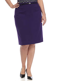Calvin Klein Plus Size Straight Belted Skirt
