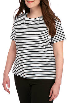 Calvin Klein Plus Size Short Sleeve Stripe Knit Top