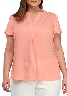 Calvin Klein Plus Size Flutter Sleeve Split-Neck Blouse
