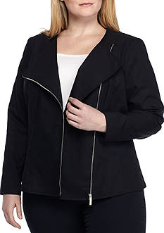 Calvin Klein Plus Size Asymmetrical Zip Front Jacket