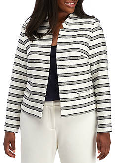 Calvin Klein Plus Size Stripe Flyaway Jacket