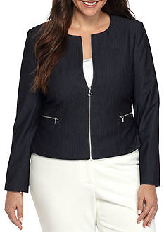 Calvin Klein Plus Size Zip Front Denim Jacket