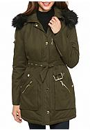 GUESS® Button Front Parka With Faux Fur Hood